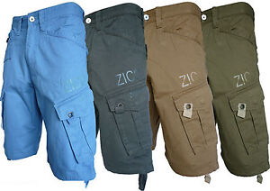 MENS-CHINO-TWILL-COMBAT-ZICO-SUMMER-SHORTS-BLUE-CHARCOAL-SAND-KHAKI-SIZE-28-40