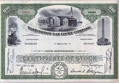 Washington Gas Light Company 2 Color Stock Certificate Set