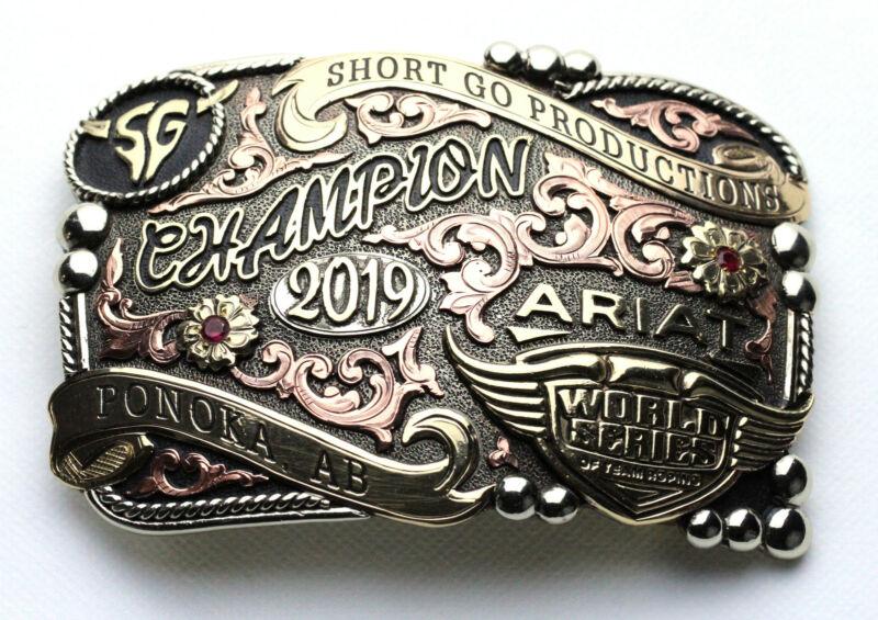 World Series of Team Roping 2019 Champion Belt Buckle Ponoka AB Silver Inlay