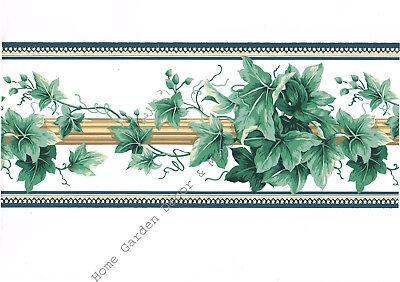 Architectural Victorian Ivy Leaf Vine Pole on White Blue Trim Wallpaper Border - Ivy Leaf Trim