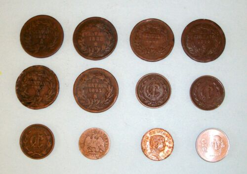 old Mexican coins late 1800s (6) 1906 (3) 1970 (1) 1985 Hidalgo (1) 188? (1)