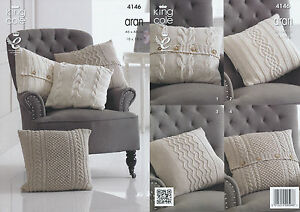 King Cole Recycled Cotton Aran Knitting Pattern Cable Knit Cushion Covers 4146