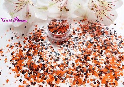 Nail Art *Halloween* Solid Orange Black Hexagons Chunky Mix Spangle Glitter Pot - Orange Halloween Nail Art