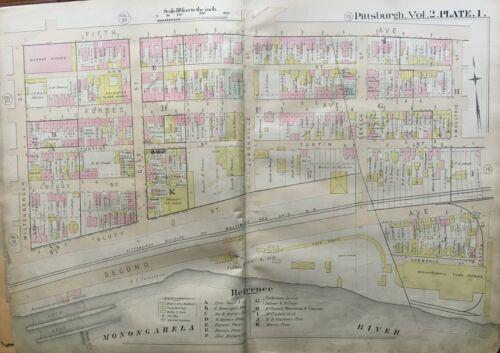 ORIGINAL 1889 PITTSBURGH PENNSYLVANIA MONONGAHELA RIVER TO FIFTH AVE ATLAS MAP