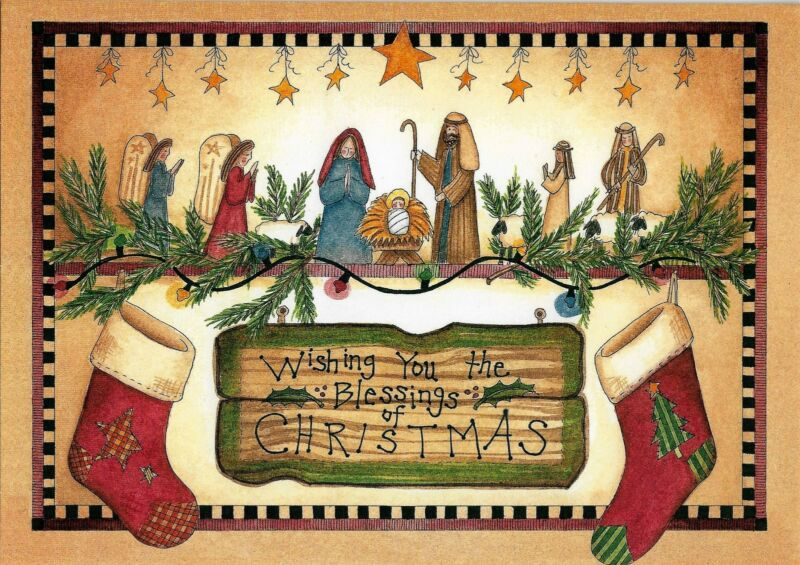 BEAUTIFUL RELIGIOUS INSPIRATIONAL CHRISTMAS CARD WITH DECORATED INTERIOR (5)