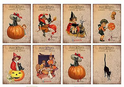8 Vintage Primitive Halloween Hang Tags ATC Cards Scrapbooking  (363)](Halloween Atcs)