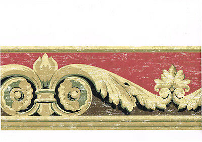 Leaf Scroll Wall Border (Architectural Acanthus Leaf Scroll Distressed Red Black Beige Wall paper Border )