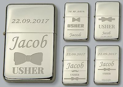 USHER Personalised lighter IN METAL TIN  - FREE Engraved - WEDDING GIFT - Usher In Wedding