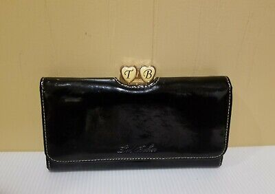 TED BAKER Black Patent Leather Bi-fold Wallet
