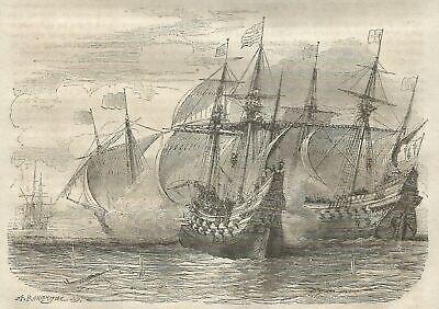 A5514 Batalla entre barcos franceses e ingleses - Xilografía de 1850 -...