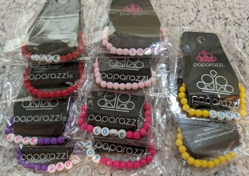 "Paparazzi Jewelry Children's Starlet Shimmer Love Bracelet Set of 10  -    ""NEW"""
