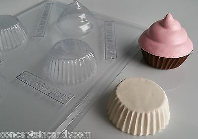 CUPCAKE 3D CLEAR PLASTIC CHOCOLATE CANDY MOLD (Plastic Chocolate Molds)