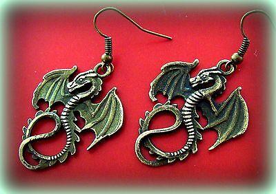 Winged SEA Serpant DRAGON EARRINGS ANTIQUE Art Nouveau Style Jewelry