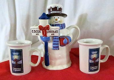 Snowman Hershey Hot Cocoa server with 2 cups Christmas Display Serving