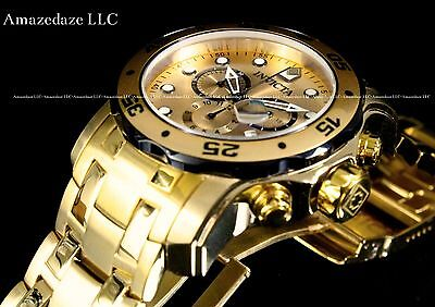 NEW Invicta Mens 18K Gold Plated Stainless Steel Chronograph 200M Scuba Watch