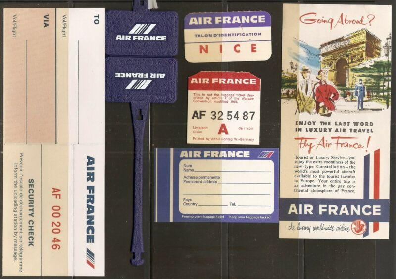 AIR FRANCE (6) advertising, tag, ID, luggage ID loop, + more ,see scans,original