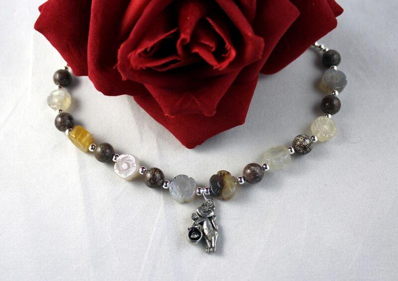 Artisan Jasper Flower  Beaded Bracelet  CAT RESCUE