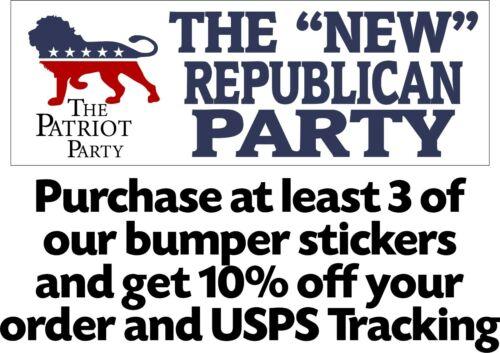 "Patriot Party Trump 2024 ""The New Republican Party"" Bumper Sticker 8.7"" x 3"""