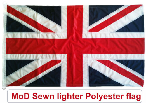 Traditionally sewn Union Jack flag British MoD approved knitted polyester 5x3ft