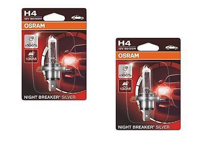 2x H4 12V 60/55W P43T Night Breaker Silver +100%