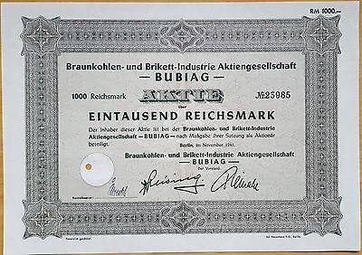 """MDS DEUTSCHLAND AKTIE 100 REICHSMARK 1935 """"BURBACH KALIWERKE, MAGDEBURG"""""""