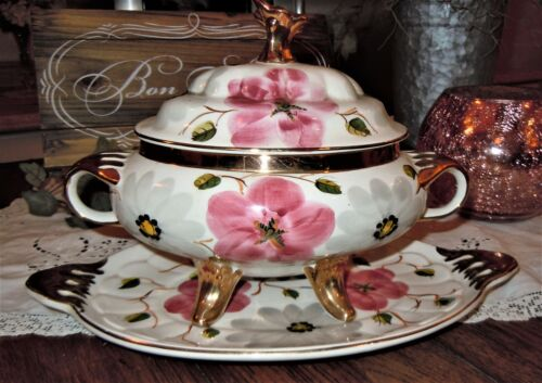 VTG Pereiras Valado Portugal Tray & Soup Tureen Floral Gold Pink Hand Painted