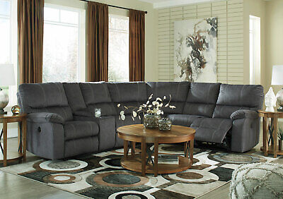 Modern Living Room Sectional Gray Fabric Reclining Sofa Set w. Power Option IF06