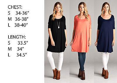 Boatneck Womens Shirt (USA Womens Boatneck Long Tunic Top Dress 3/4 Sleeve Shirt Blouse S M L XL Plus)