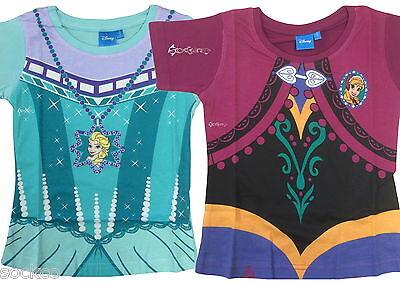 Girls Disney Frozen Elsa Anna Dress Up T Shirt Cotton Top Age 2-3, 4-5 6-7 Years