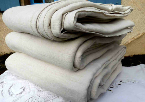 3 Antique vintage French linen hemp fabric sheets 1800 11 Lbs rustic