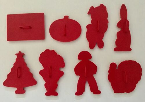 Assorted VINTAGE Tupperware Red Plastic Cookie Cutters