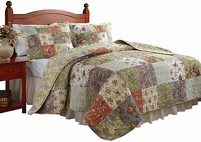 King Size Quilt Bedding Set 3 Pc Reversible Patchwork 100% Cotton Oversized, NEW