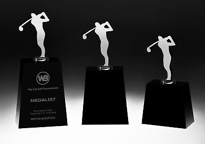 Golf Swing Crystal Awards Trophy Small - Free Personalized, Presentation Box