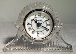 Crystal Clear 5 Cut Glass Quartz Shelf or Mantel Clock / Time Piece