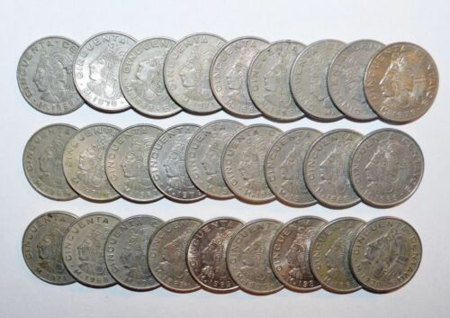 MEXICO lot 30 Aztec emperer  Cuauhtémoc coins
