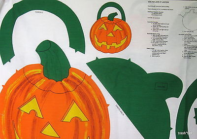 Vintage 80s Halloween Cotton Canvas Fabric Panel Pumpkin Tote bag trick or treat](Halloween Tote Bag Craft)