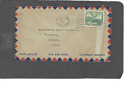 1947 24c KGVI BRITISH GUIANA TO KAISER-FRASER CORP., WILLOW RUN, MICH COVER