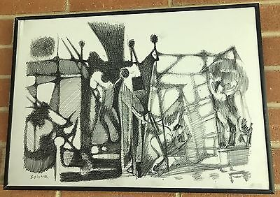 Vintage 70s Abstract Graphite Drawing Mid Century Modern Retro Art Signed Bowne