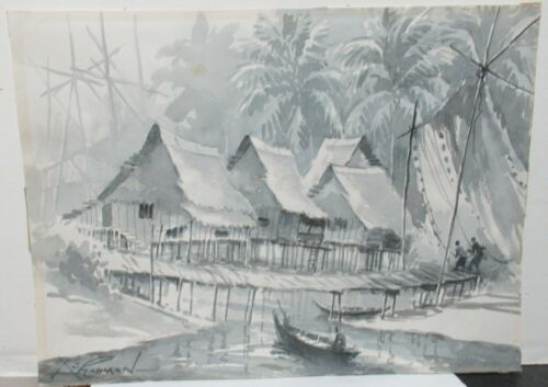 A.J. RAHMAN OLD VIETNAM FISHERMAN VILLAGE WATERCOLOR LANDSCAPE PAINTING