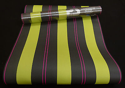"""05617-30-8) schicke Papier Tapete schicke Streifen """"WISH"""" grün, schwarz, pink"""