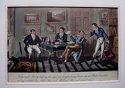 CARICATURES LIFE IN LONDON GAMBLING AT LOGIS'S  GEORGE CRUIKSHANK 1821