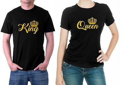 KING QUEEN CROWN T-Shirts Funny LOVE Valentines Day Couples Matching T-SHIRTS