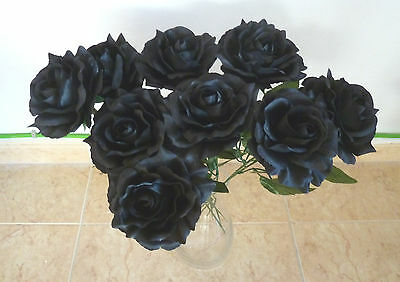 10 x Rose Edelrose schwarz   Kunstblumen -Seidenblumen ()