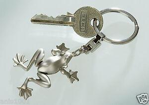 ☼ Gilde Schlüsselanhänger Frosch Metall silber matt in Geschenkbox ca.10cm 50967