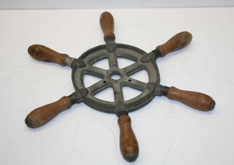 """Vintage Perco 12"""" Ships Wheel - Wood, Brass, Cast Frame with History"""