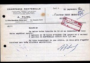 """PARIS (XX°) VINS & ALCOOLS / CHAMPAGNE MONTEBELLO """"A. FILIOL"""" en 1949 - France - État : Occasion : Objet ayant été utilisé. Consulter la description du vendeur pour avoir plus de détails sur les éventuelles imperfections. Commentaires du vendeur : """"CORRECT"""" - France"""