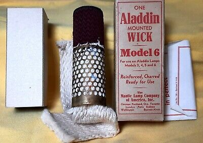 (3) Vintage NOS Aladdin Model 6 Mounted Wicks For models 3, 4, 5 and 6. With Box.