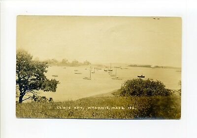Cape Cod MA Mass RPPC real photo, Lewis Bay, Hyannis, boats, homes, old postcard