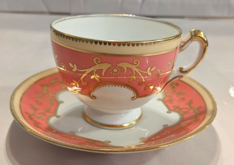 Standard England Pink And Gold Teacup And Saucer
