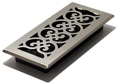 Decor Grates SPH410-NKL Scroll Floor Register, 4x10, Brushed Nickel Finish